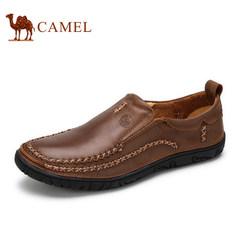 骆驼男鞋子春季新款柔软舒适男士真皮休闲鞋手工缝制套脚鞋
