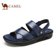 【断码清仓】Camel/骆驼男鞋舒适牛皮厚底露趾日常休闲牛皮凉鞋男