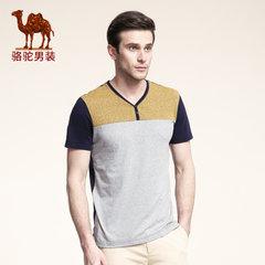 Camel骆驼男装 春夏季微弹V领时尚休闲短袖撞色T恤衫男