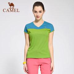 CAMEL骆驼户外短袖速干衣 春夏插肩连袖女款V领T恤