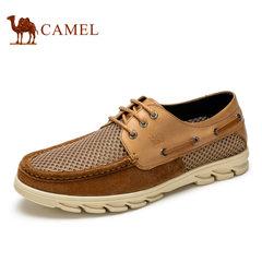Camel/骆驼男鞋网鞋夏季  牛皮透气网面鞋休闲鞋男系带
