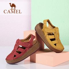 Camel/骆驼女鞋夏季新款舒适厚底牛皮魔术贴休闲鞋坡跟包头凉鞋女