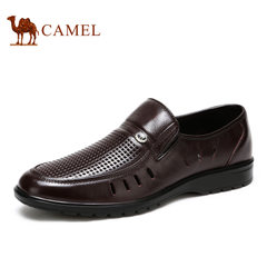 Camel骆驼男鞋 男士商务正装镂空透气舒适套脚皮鞋