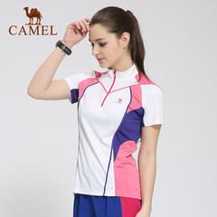 CAMEL骆驼户外运动速干T恤 春夏女款拼色透气立领短袖快干衣