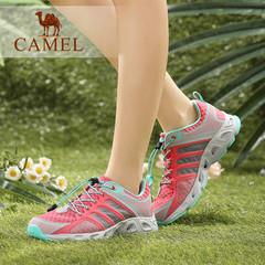 Camel/骆驼女鞋 舒适休闲 PU/单层网系带户外女鞋 潮流运动鞋