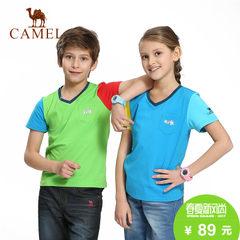 CAMEL骆驼户外春夏休闲T恤 青少年男女童V领短袖上衣