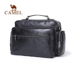【新品】camel2016新款商务休闲男士手提包横款牛皮包单肩大容量