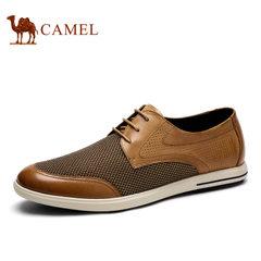 Camel/骆驼男鞋夏季真皮网鞋男士透气休闲鞋子潮网面鞋
