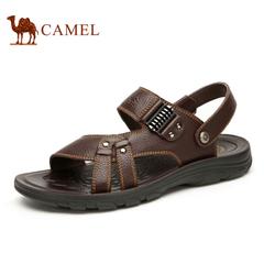 camel骆驼男鞋凉鞋2016新款沙滩鞋子男士透气夏季真皮露趾凉鞋