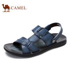 【断码清仓】camel骆驼男鞋 时尚休闲夏季真皮透气男士凉拖鞋