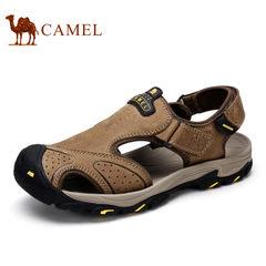 Camel/骆驼男凉鞋夏季运动休闲户外鞋男沙滩鞋魔术贴牛皮包头凉鞋