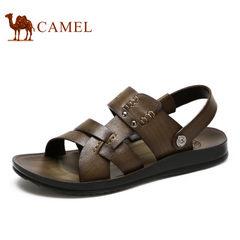 camel骆驼男凉鞋鞋日常休闲夏季真皮牛皮两穿凉拖鞋露趾搭扣男凉