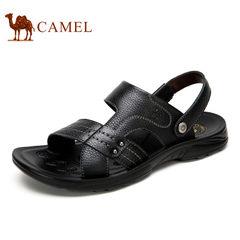 【断码清仓】camel骆驼男鞋 真皮露趾日常休闲两穿舒适牛皮 凉鞋