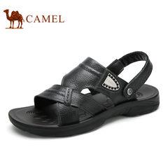 Camel 骆驼男鞋 夏季日常休闲沙滩鞋男 透气舒适厚底露趾牛皮凉鞋