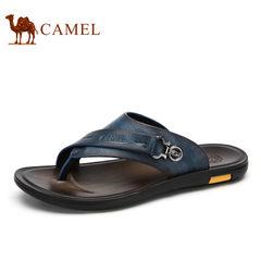 【断码清仓】Camel/骆驼拖鞋男时尚真皮牛皮夹趾人字拖青年男拖鞋