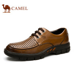 【断码清仓】Camel/骆驼男鞋镂空皮鞋真皮商务男士休闲鞋圆头系带