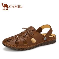 CAMEL骆驼男凉鞋夏季新款真皮日常休闲鞋手工缝线包头沙滩男凉鞋