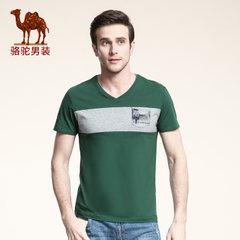 骆驼男装 夏季微弹V领撞色棉质修身日常商务休闲短袖T恤