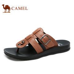 【断码清仓】Camel/骆驼男鞋牛皮日常休闲 舒适耐磨 沙滩拖鞋男