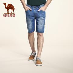 Camel/骆驼男装 2016夏季新款中腰时尚修身五分裤短裤休闲牛仔裤