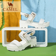 Camel/骆驼女鞋 2016夏季新款 时尚休闲 牛皮针扣复古高跟凉鞋
