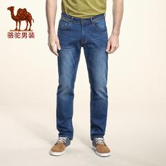Camel/骆驼男装2016秋季新款微弹中腰拉链修身小脚长裤时尚牛仔裤