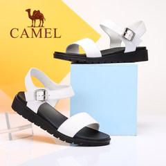 camel骆驼夏天女鞋 新款欧美风时尚女凉鞋 一字扣带平底凉鞋