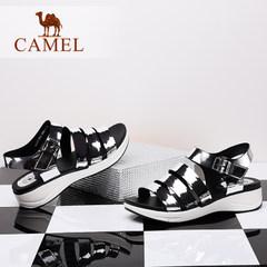 骆驼女鞋 春夏新款原宿韩国ulzzang凉鞋 时尚休闲中跟凉鞋