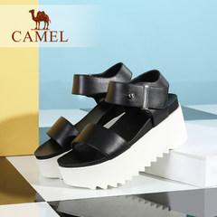 Camel/骆驼女鞋 休闲轻便 真皮魔术贴厚底高跟凉鞋 2016新款潮鞋