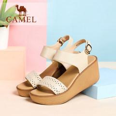 Camel骆驼优雅甜美厚底女鞋 真皮镂空高跟坡跟凉鞋 夏季新款