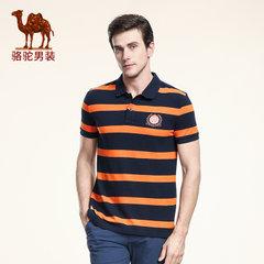 Camel/骆驼男装 短袖T恤夏季休闲男士纯棉商务polo衫直筒条纹T恤