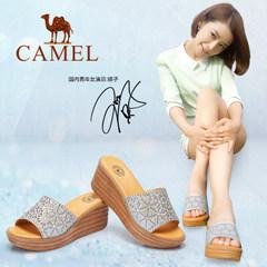 骆驼女凉拖 夏季新款厚底高跟拖鞋 水钻防水台室外女士凉拖鞋