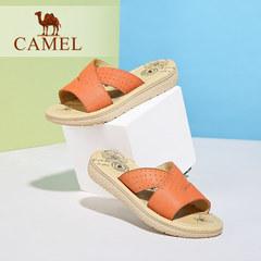 骆驼女鞋 舒适休闲拖鞋 2016夏季新款沙滩鞋 真皮平底凉拖女