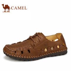 骆驼男鞋夏季新款真皮手工缝制休闲镂空皮鞋男士透气男鞋子