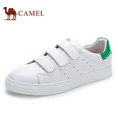 Camel/骆驼男鞋春季牛皮时尚休闲板鞋男潮鞋魔术贴小白鞋