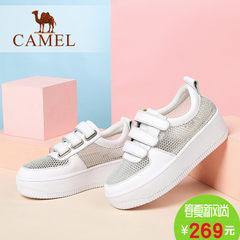 骆驼休闲运动小白鞋 圆头厚底松糕鞋 夏季新款网面透气女单鞋