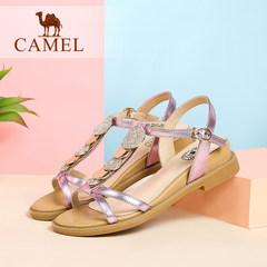 骆驼女鞋 2016夏季日系新款时尚少女凉鞋 牛皮水钻中跟坡跟凉鞋