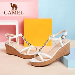 骆驼女鞋 夏新款优雅凉鞋 羊皮腕带搭扣高跟凉鞋 露趾罗马鞋