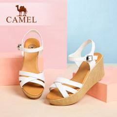 骆驼女鞋 夏季新款简约厚底女凉鞋 牛皮搭扣坡跟高跟凉鞋 女