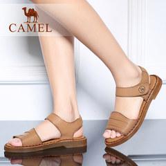 Camel/骆驼女鞋 简约舒适 腕带魔术贴水染牛皮平底休闲凉鞋