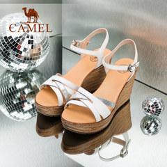 骆驼坡跟凉鞋 夏季新款鞋子 真皮一字扣带防水台超高跟女鞋
