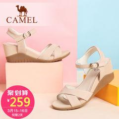 骆驼女鞋 磨砂皮腕带搭扣坡跟凉鞋 夏季新款简约女士高跟鞋子