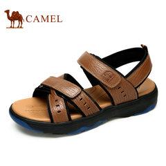 【断码清仓】Camel/骆驼男鞋魔术贴厚底 日常休闲牛皮拼接凉鞋男