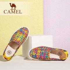 Camel/骆驼女鞋 夏季新款 轻便透气舒适拼色七彩平底单鞋女