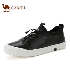 Camel/骆驼男鞋 真皮板鞋男耐磨潮流简约松紧带休闲男鞋舒适潮鞋