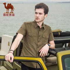 骆驼牌男装 夏季时尚纯色尖领日常休闲纯棉短袖衬衫男