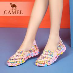 骆驼女鞋 2016夏季新款轻便透气平跟休闲鞋 舒适彩色单鞋女平底鞋