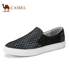 Camel/骆驼男鞋春季帆布鞋黑白编织网布鞋时尚休闲板鞋透气网鞋男
