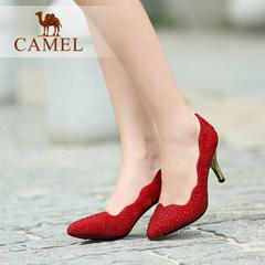 【热卖】骆驼女鞋 优雅亮丽 水钻酒杯跟尖头高跟鞋 春秋款婚鞋