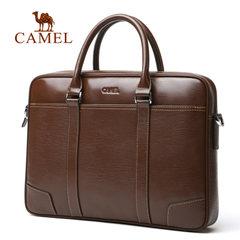 Camel骆驼男士真皮手提包商务休闲牛皮单肩包男潮流男包